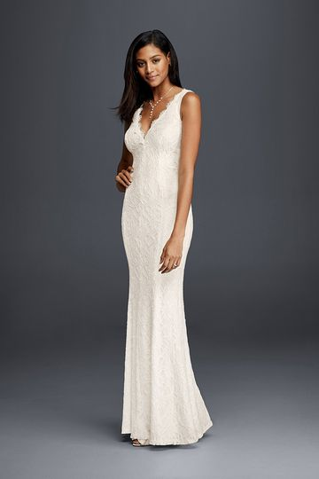 David's Bridal Collection Style 183626DB		Lace sheath dress with V-neckline and tank straps.