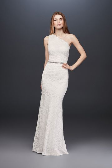 David's Bridal Collection Style 183668DB		Glitter lace one- shoulder sheath dress with scalloped...