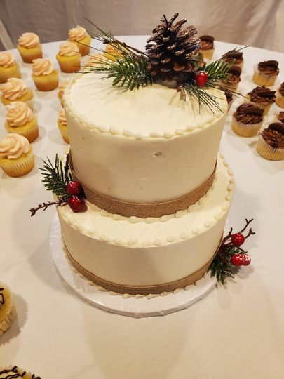 Two tiered cutting cake