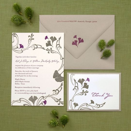 Art Nouveau inspired invitation with ginkgo leaves which can be changed to suit your event. In this...