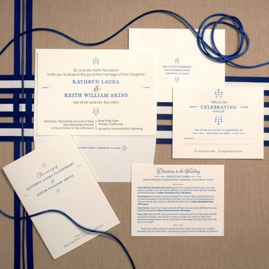 Classic design contrasts with modern typography.  2-color invitation with printed return address...