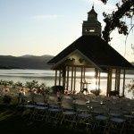 The setting sun sparkles on Lake Champlain.