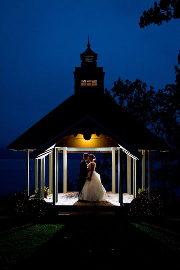 Evening photo of ceremony gazebo for an October wedding