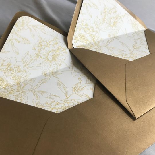 Gold envelopes with liners