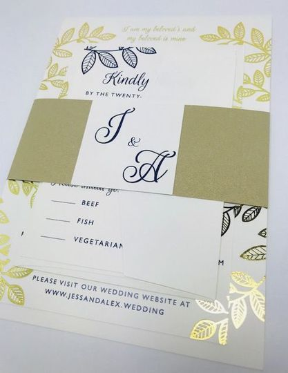 Gold and blue themed invitation