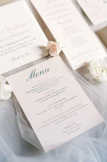Blush menu card