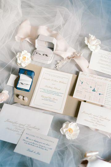 Blush/ecru invitation suite