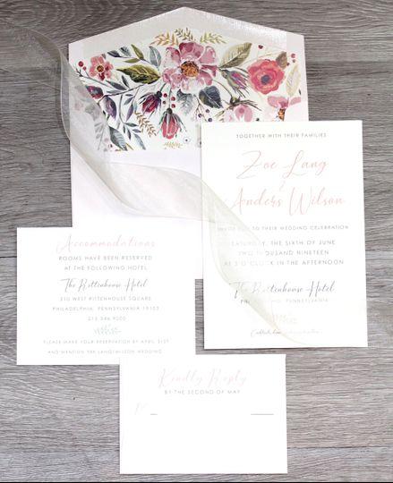 Colorful Flower Invitation Set