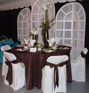 Crystal City Party Center Backdrop, linens