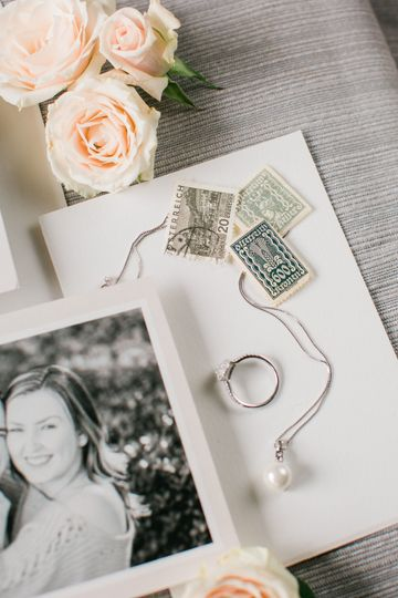 Wedding ring and stamps