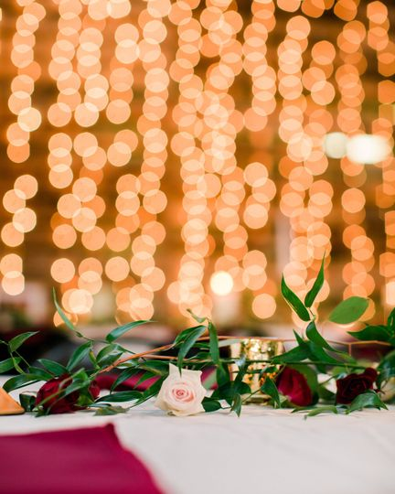 Floral decor and hanging lights
