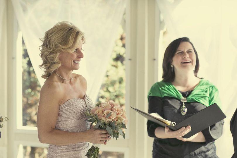 Sharing smiles at the wedding