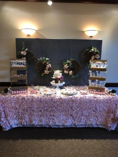 Cake table with dessert displays