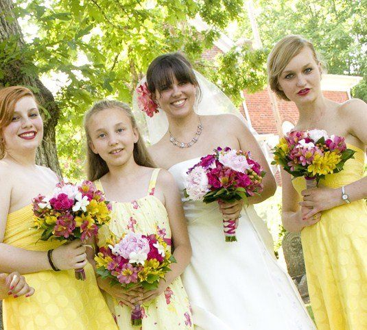 Pretty wedding party with peonies and alstro ballet wrapped & handtied bouquets