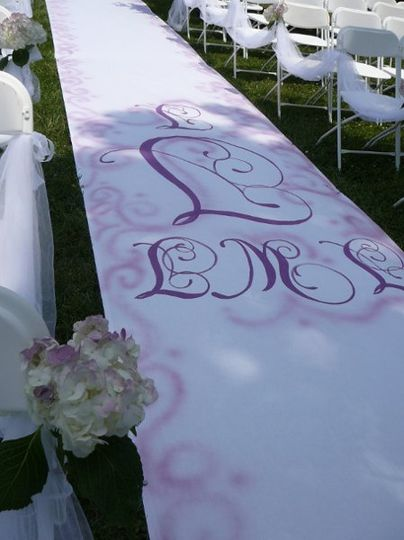 Custom Aisle Runner with Initials, 50' long