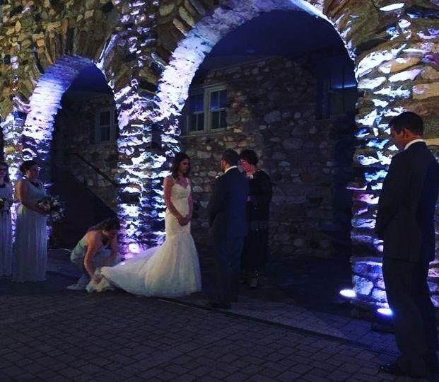 Night time ceremony uplighting