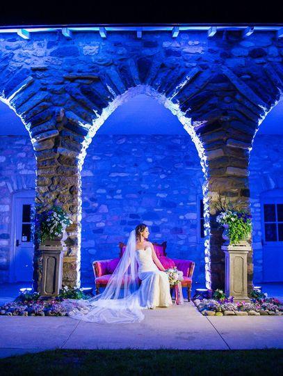 Out door custom lit wedding