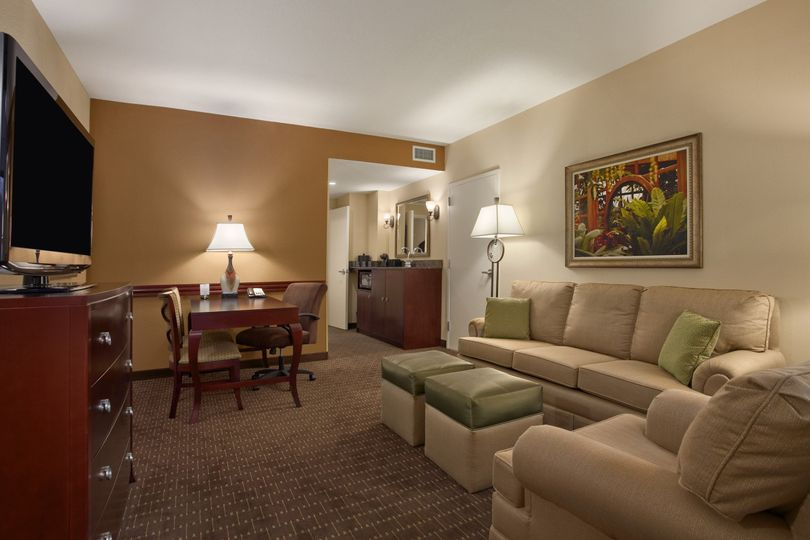 Two-room suites also offer a pullout sofa bed and modern decor and amenities.