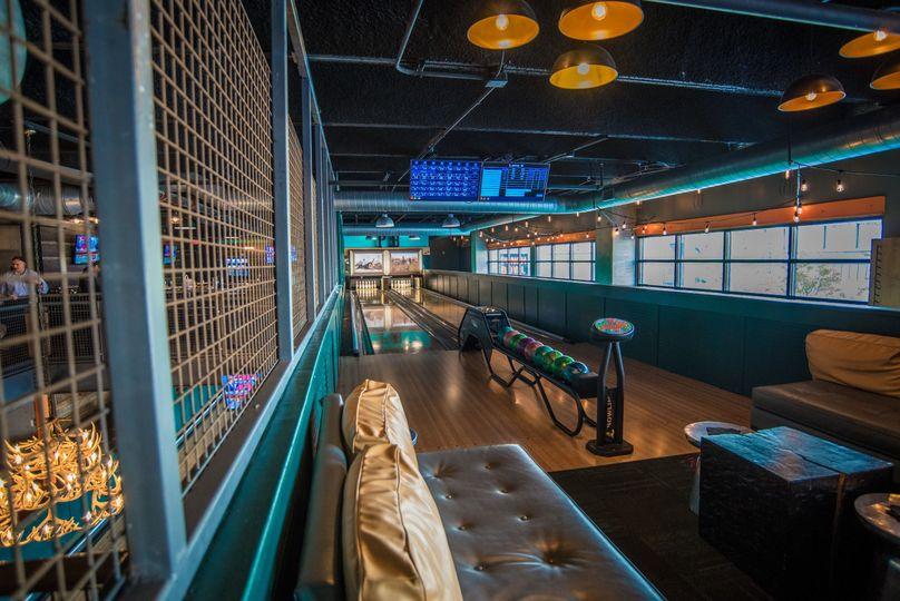 Upstairs bowling lanes