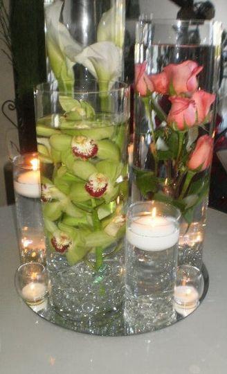 Underwater centerpiece with Candles