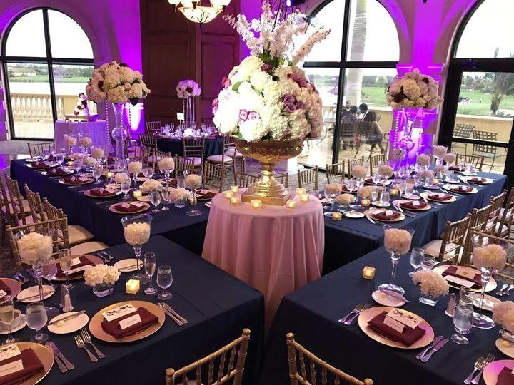 Wedding reception venue with uplighting