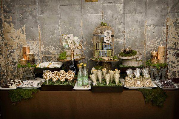 A woodlands-theme dessert table for a Manhattan loft wedding