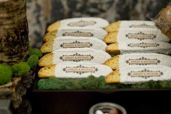 Custom designed biscotti on a dessert table- also great for favors and welcome baskets