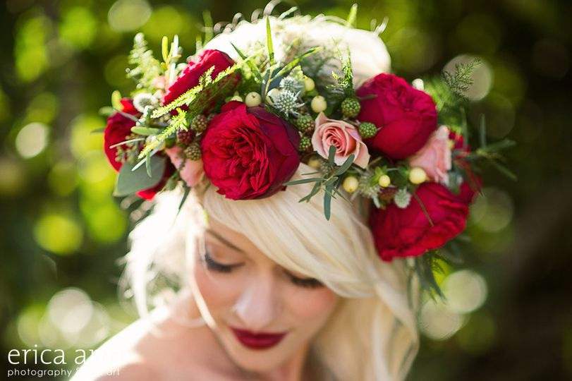 red garden roses floral crown