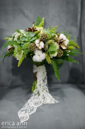 green bouquet with ferns, pods and cotton