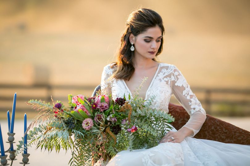 Bride in a sleeved wedding dress