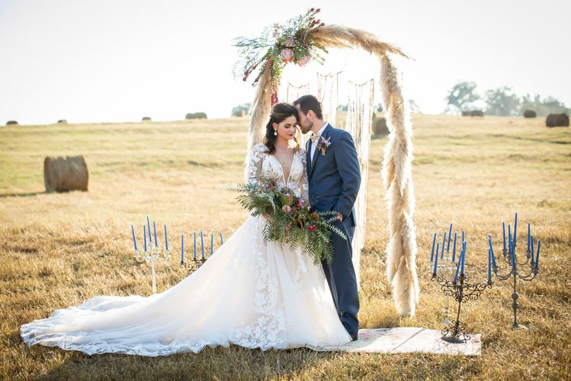 Newlyweds under the arch