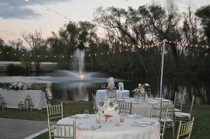 Outdoor event by the pond