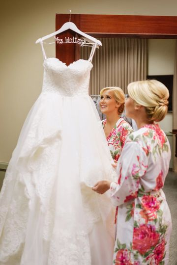bride and her wedding gown