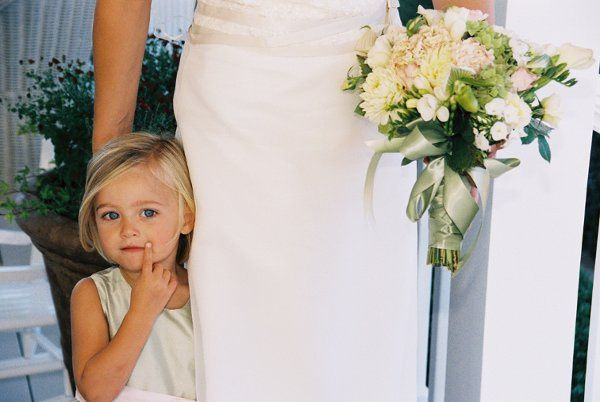 Bride with the kid at the wedding