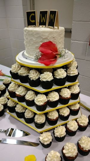 Three tiers of cupcakes underneath the cake