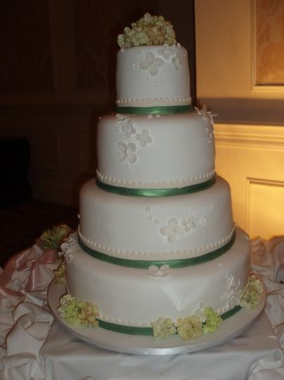 green and ivory ribbon with green and ivory hydrangeas