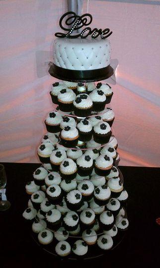 black and white cupcake towe