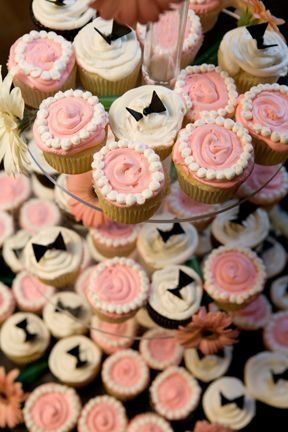 Elegant simple bride and groom cupcakes