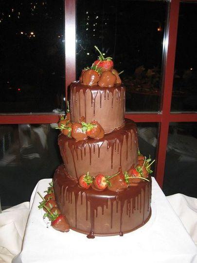 Decadent chocolate ganache and strawberries