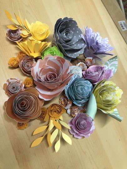 Spring paper flower samples