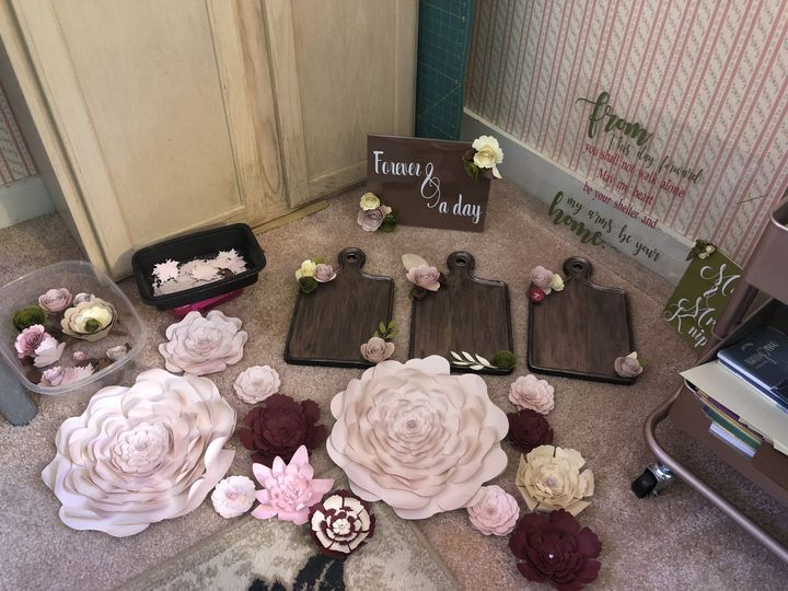 An array of decorations for rustic wedding.