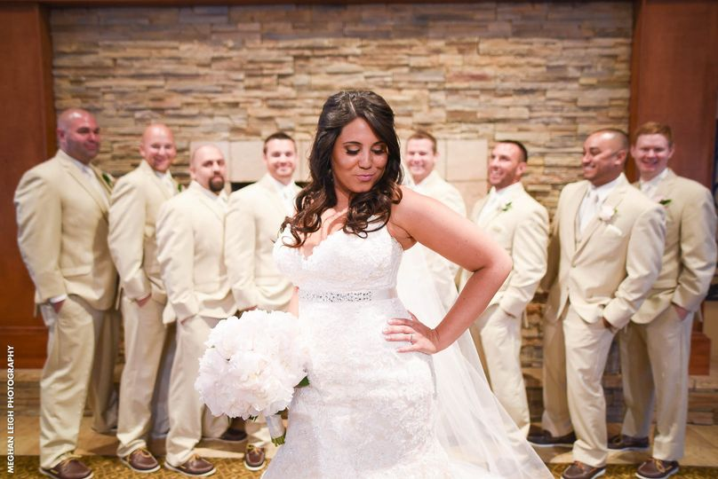 Bride and the groomsmen