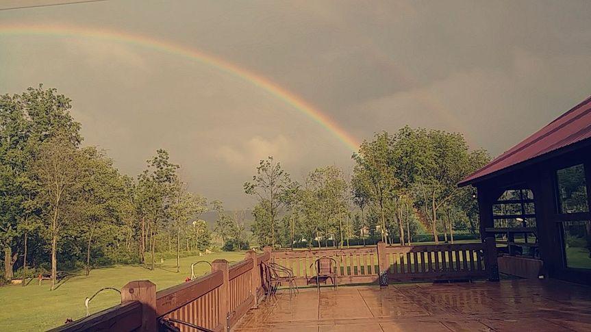 Rainbow above the venue
