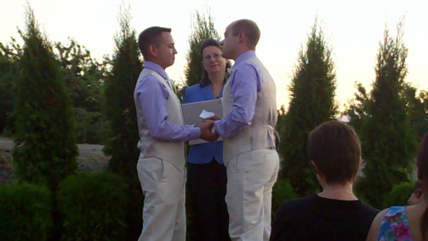 Michael Moreno and Patrick Hendricks shared their vows in a lovely sunset wedding in the Dalles at...
