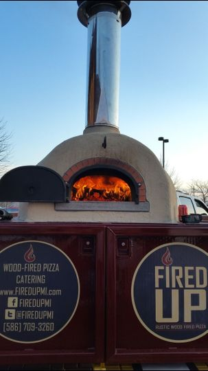 Our oven getting ready to bake our award winning pizzas in under 2 minutes!