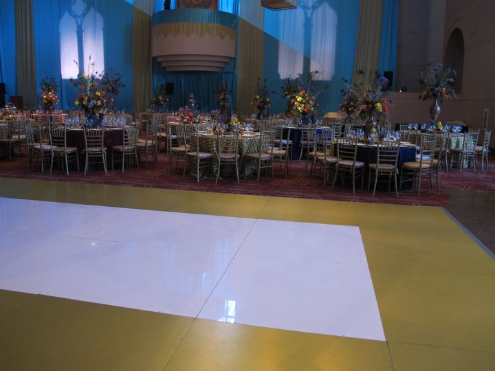 White floor with gold border