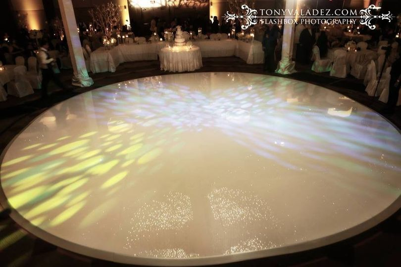 Round white dance floor