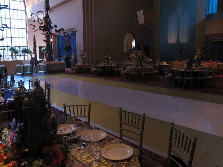 White with gold border dance floor