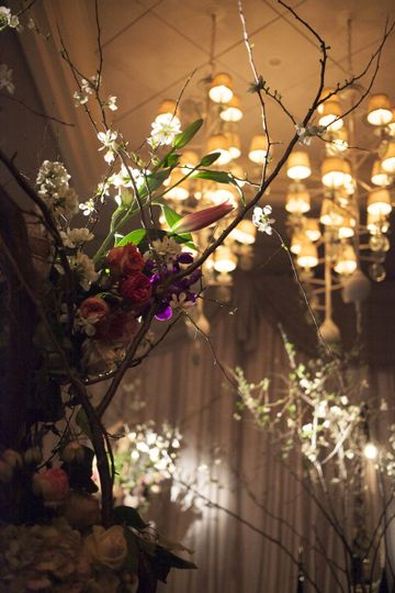Floral decor and chandelier