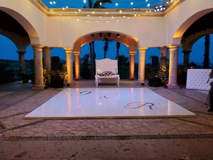 Tmx White Vinyl Dance Floor With Monogram 51 1007945 Cabo San Lucas, MX wedding dj